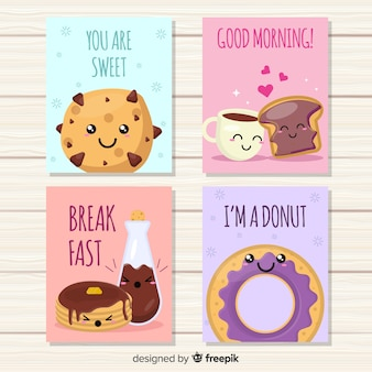 Set di carte carino cibo dolce