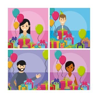 Set di carte cartoni animati celebrazione festa