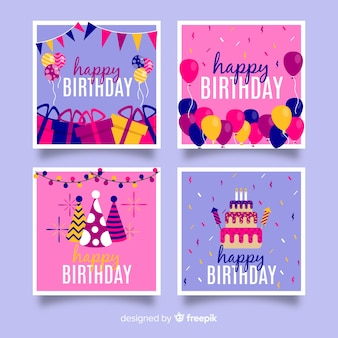 Set di carte compleanno design piatto