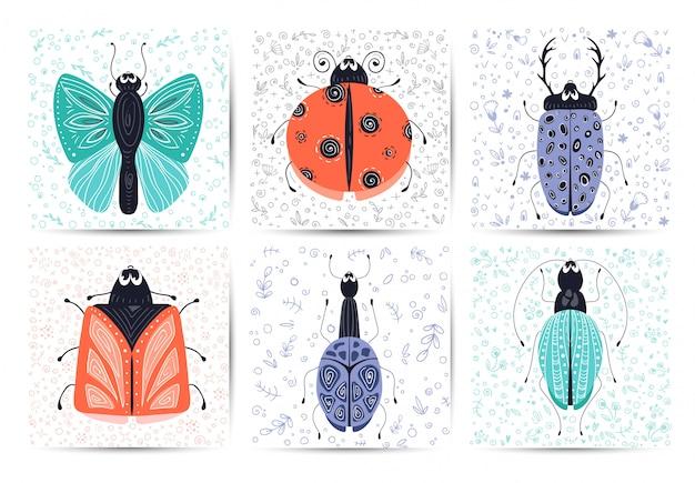 Set di carte con bug di cartone animato vettoriale o coleottero, piatto