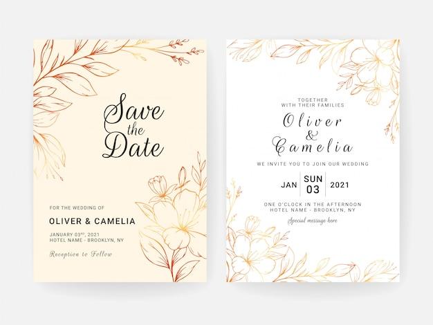 Set di carte con decorazioni floreali line art. progettazione del modello dell'invito di nozze dei fiori e delle foglie di lusso dell'oro