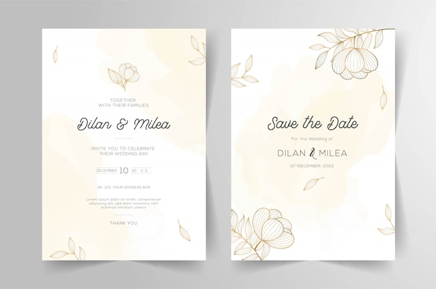 Set di carte con decorazioni floreali line art
