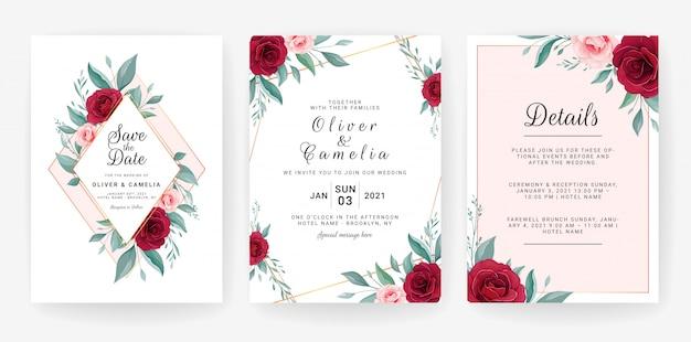 Set di carte con decorazioni floreali. progettazione del modello dell'invito di nozze dei fiori e delle foglie rosa eleganti