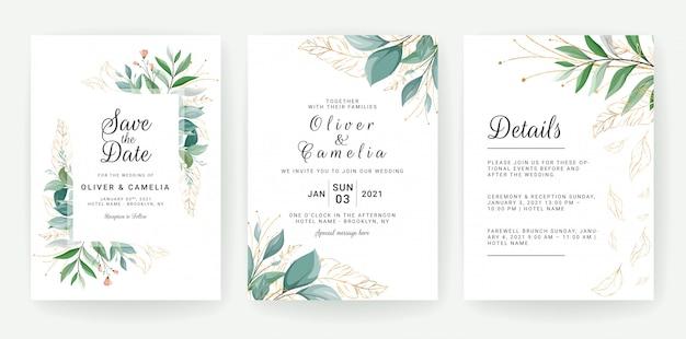 Set di carte con decorazioni floreali. progettazione del modello dell'invito di nozze della pianta delle foglie tropicali e di scintillio