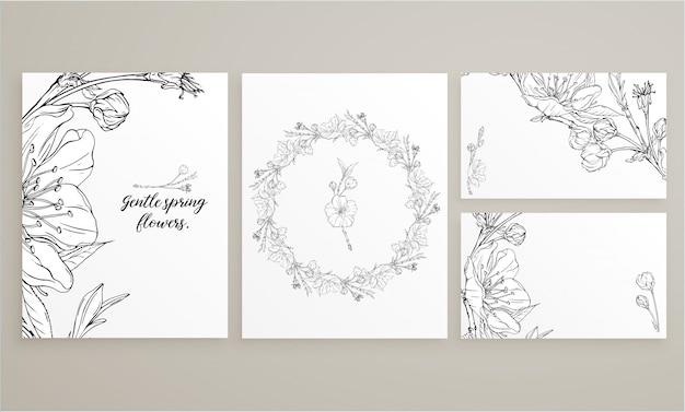 Set di carte con delicati fiori primaverili
