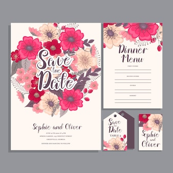 Set di carte con fiore rosa, foglie. concetto di ornamento di nozze