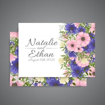 Set di carte con fiore rosa