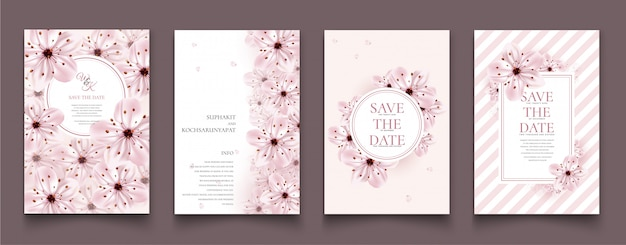 Set di carte con fiori di ciliegio.