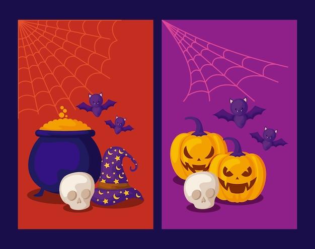 Set di carte con zucche e icone di halloween