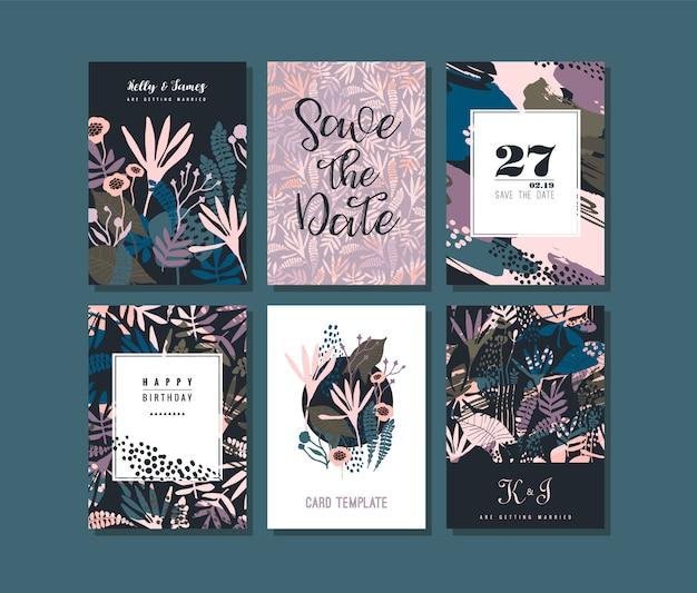 Set di carte creative astratte.
