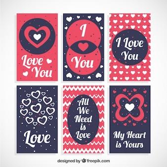Set di carte d'amore con frasi