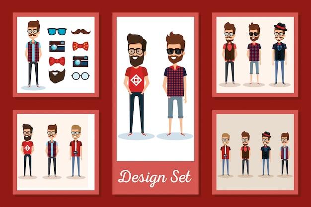 Set di carte da uomo hipsters