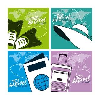 Set di carte da viaggio del mondo