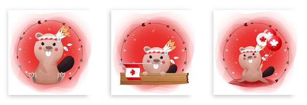 Set di carte del giorno del canada con castoro carino e bandiera del canada su sfondo rosso e bianco. buona giornata in canada.