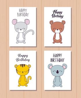 Set di carte di buon compleanno con simpatici animali