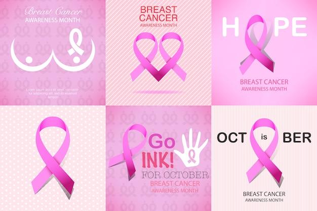 Set di carte di campagna di consapevolezza del cancro al seno nastro rosa