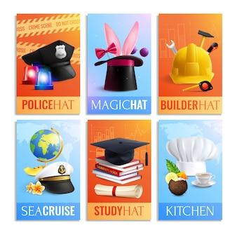 Set di carte di cappelli di diverse professioni