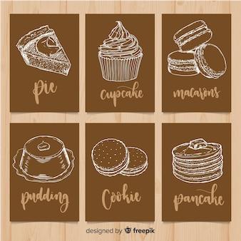 Set di carte di cibo lettering
