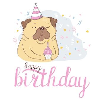 Set di carte di compleanno con cani simpatico cartone animato.