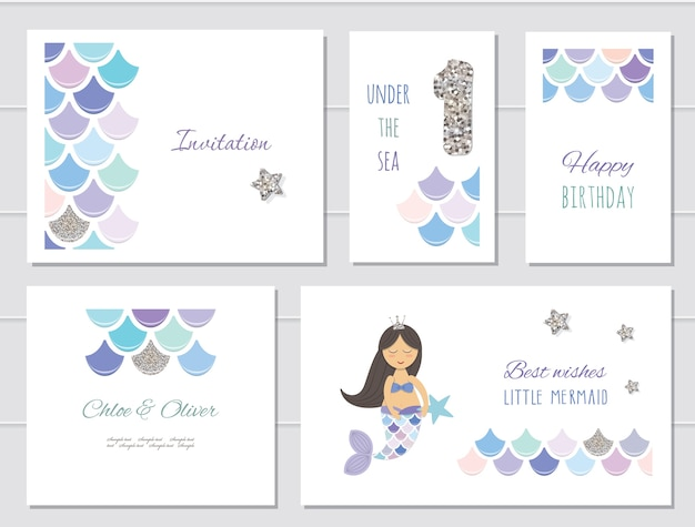 Set di carte di compleanno di sirene per ragazze.