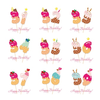 Set di carte di compleanno.