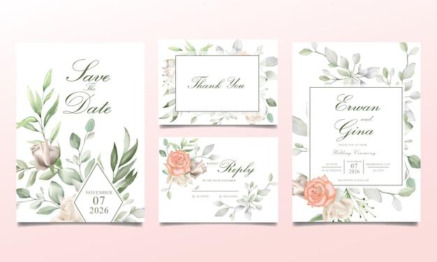 Set di carte di invito di nozze con acquerello floreale e foglie