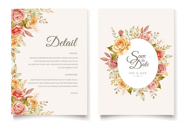 Set di carte di invito matrimonio floreale