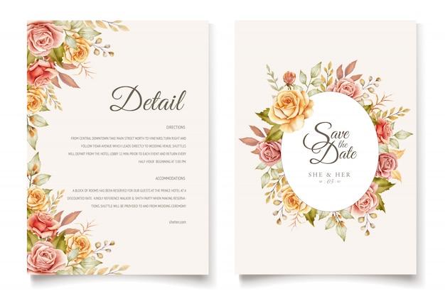 Set di carte di invito matrimonio floreale