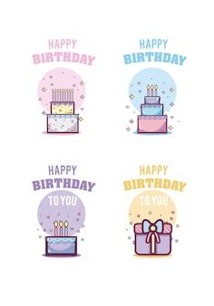 Set di carte di nascita felice