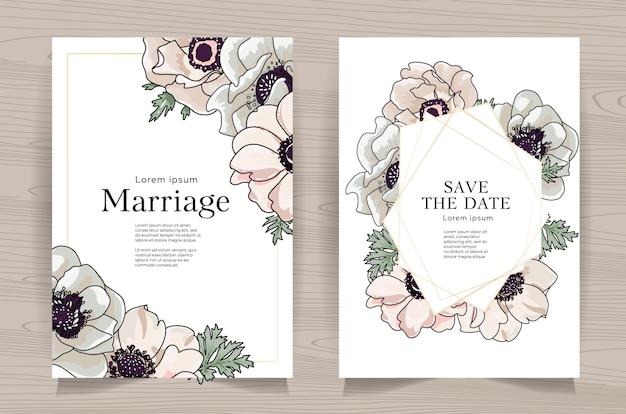 Set di carte di nozze con anemone disegnato a mano