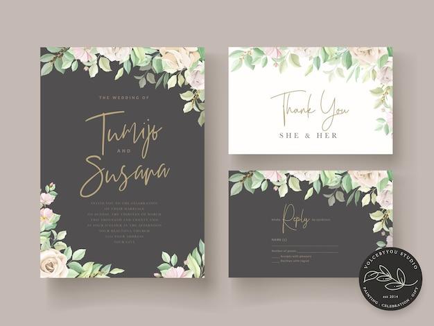 Set di carte di nozze floreali verde morbido