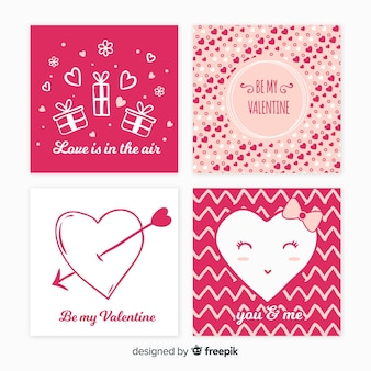 Set di carte di san valentino disegnati a mano