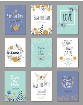 Set di carte di save the date, tema amore romantico