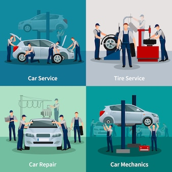 Set di carte di servizi di riparazione auto