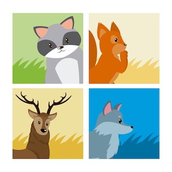 Set di carte di simpatici animali