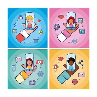 Set di carte di social media con cartoni animati