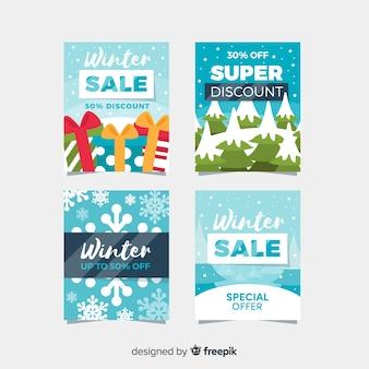 Set di carte di vendita inverno piatto
