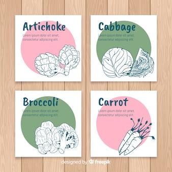 Set di carte di verdure