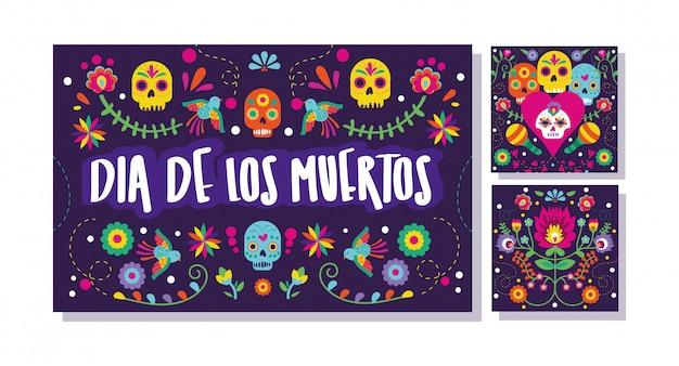 Set di carte dia de muertos