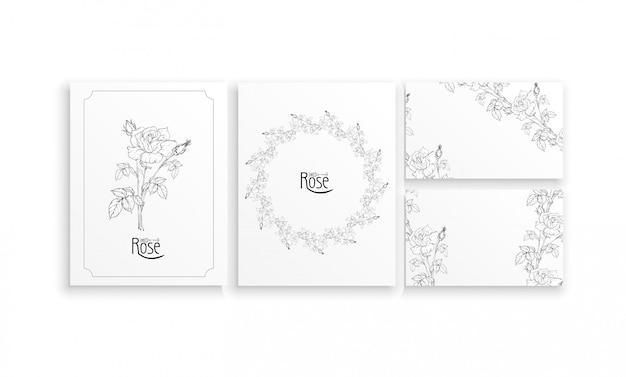 Set di carte e biglietti da visita con composizioni floreali grafiche con fiori di rose