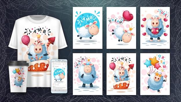 Set di carte e merchandising di agnello pazzo
