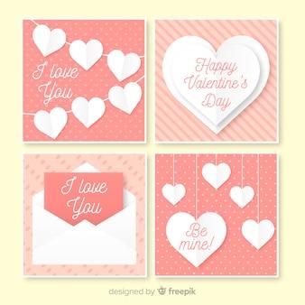 Set di carte elementi san valentino piatto