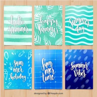Set di carte estive con struttura dell'acquerello