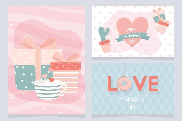 Set di carte felice giorno di san valentino con cactus e icone