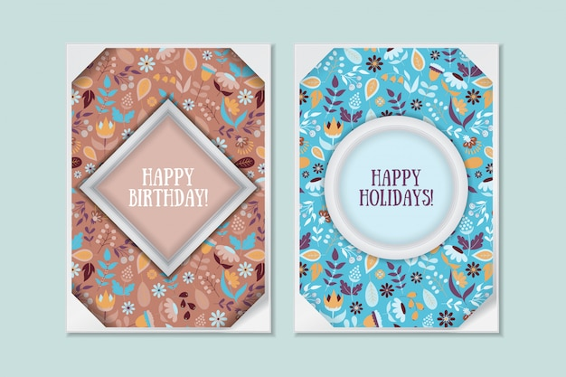 Set di carte floreali carino doodle vintage. saluto di festa