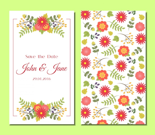Set di carte floreali vintage carino.