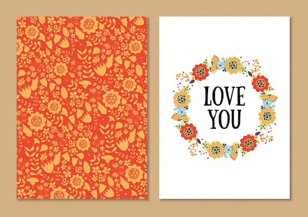 Set di carte floreali vintage carino