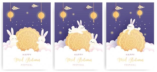 Set di carte happy mid autumn con coniglietto e torta di luna carini.