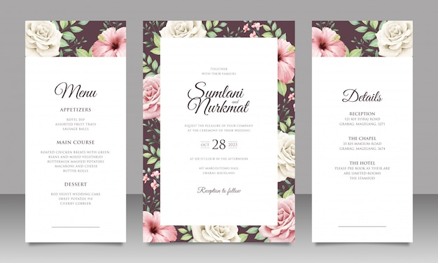 Set di carte invito matrimonio elegante con bellissimi fiori e foglie
