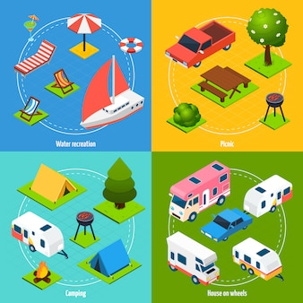 Set di carte isometriche di campeggio e viaggi